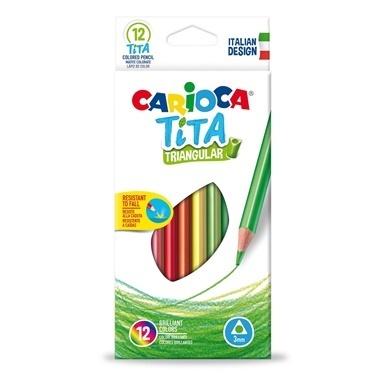 Carioca Carioca Tita Üçgen Kuru Boya Kalemi 12'Li Renkli